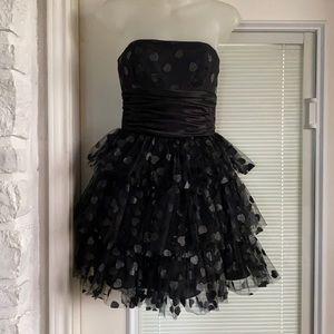 Betsey Johnson Strapless Tulle Black Heart Dress